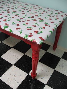 oilcloth tablecloth, would be cute for old kitchen table in basement or for top of crafting desk!