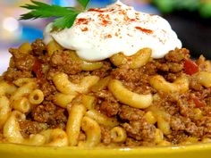 Bobby's Goulash from FoodNetwork, it's almost the exact recipe I grew up having my mom make...total comfort food!