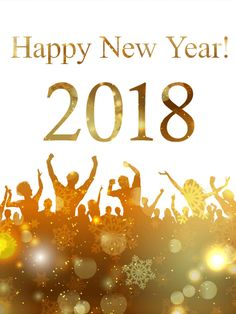 "Golden New Year Party Card 2018: Will you be attending a wild, fun-filled party to ring in the New Year? This Golden New Year Party card features a crowd of New Year's celebrators and a ""Happy New Year! 2018"" message. The bottom of the card is dark gold with snowflakes, spots of light, and bright sparkles on a white background. Send this holiday card to the fun-loving, party-goers in your life!"