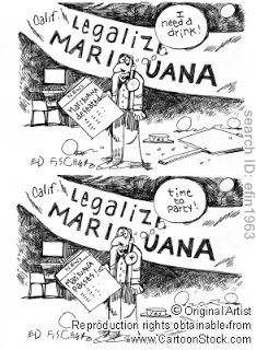 I don't agree with what is shown in this cartoon. It suggest that regardless of whether marijuana is legalized or not, people are going to make bad decisions about what they consume. It seems fair as the only difference between the two halves is the headline and dialogue, but the intentions are misguided. It does not condense the issue of decriminalizing marijuana at all; it covers only the supposed negative effects and conservative views.