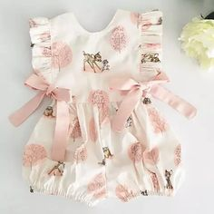 Fashion 2019 Baby Girl summer clothing cute Deer Flower cotton soft Romper Jumpsuit for newborn infant clothes children kid, Girls Summer Outfits, Baby Outfits, Kids Outfits, Girls Dresses, Toddler Outfits, Infant Dresses, Baby Dresses, Baby Girl Romper, Cute Baby Girl