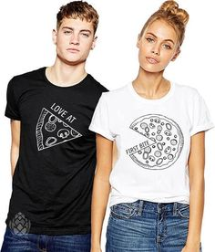 T-shirt couple assortis Pizza