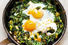 Clean Eating - Skillet Baked Eggs with Spinach, Yogurt, and Berbere
