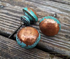 Copper Covered Turquoise Distressed Wooden Knobs by Magical Beans Home || Antique Vintage & Decorative Hardware || www.MagicalBeansHome.com -or-Find us at MagicalBeansHome Etsy Marketplace