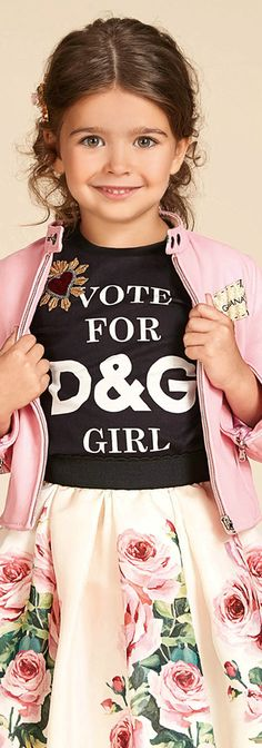 DOLCE & GABBANA Girls Designer Mini Me Black Logo T-Shirt & Rose Tulle Skirt with Pink Jacket from the Spring Summer 2018 Collection. Love this perfect Summer streetwear look little princess who like to look their best. Pretty Style for for stylish kid, tween and teen girls.  #kidsfashion #fashionkids #girlsdresses #childrensclothing #girlsclothes #girlsclothing #girlsfashion #dolcegabbana