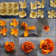 Eggs cardboard roses - craft ideas - Egg box roses How do I make roses from an egg box? Just drop in by hand in luck and make it for The post roses from egg carton appeared first on craft ideas. Rose Crafts, Flower Crafts, Diy Flowers, Paper Flowers, Egg Carton Art, Egg Carton Crafts, Upcycled Crafts, Diy Crafts, Cardboard Crafts