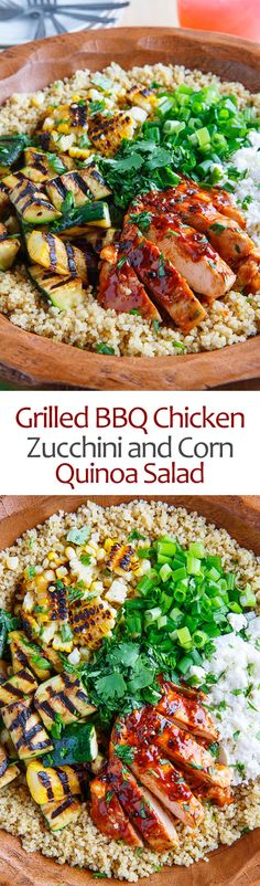 Grilled BBQ Chicken, Zucchini and Corn Quinoa Salad Gegrillter BBQ-Huhn-, Zucchini-und Mais-Quinoa-Salat Clean Eating Recipes, Healthy Eating, Cooking Recipes, Healthy Recipes, Healthy Snacks, Grilled Bbq Chicken, Chicken Zucchini, Zucchini Quinoa, Chicken Quinoa Salad