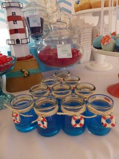 FALTAN LAS PAJILLAS - Nautical First Birthday Candy Table