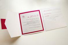 Einladung Pocket Fold mit Herz, Pink und Grün