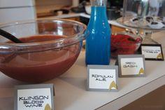 Star Trek food - Romulan Ale = 7up + blue food coloring - Klingon Blood Wine = Cranberry-pomegranate juice + lemonade and orange frozen concentrate + sparkling lemon-lime water.