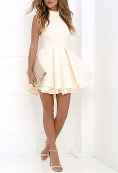sexy halter white homecoming dress,simple backless Prom dress,short party dress