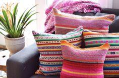 Decorative Peruvian & African textile pillow