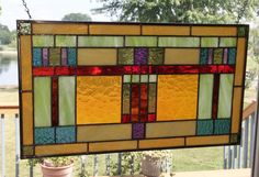 Arts and crafts stained glass panel window hanging by SGHovel