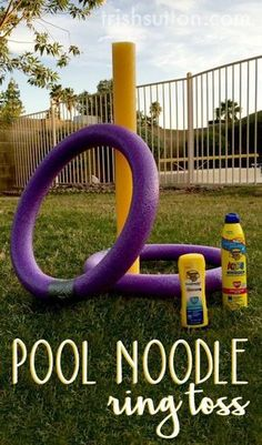 """DIY Pool Noodle Ring Toss Yard Game via Trish Sutton """"Summer has arrived. Enjoy a little fun in the sun playing Pool Noodle Ring Toss"""""""