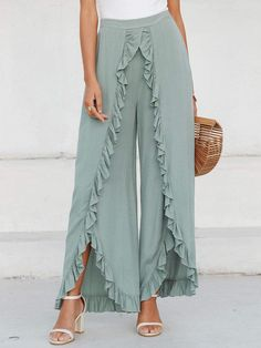 To find out about the Simplee Slit Hem Ruffle Trim Wide Leg Pants at SHEIN, part of our latest Pants ready to shop online today! Ruffle Fabric, Ruffle Pants, Ruffle Trim, Trouser Pants, Wide Leg Trousers, Split Pants, Fashion Pants, Fashion Outfits, Modelos Fashion