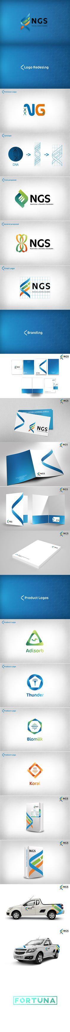 Rediseño de imagen de la empresa NGS (Nutrición y Genética Saludable). By: Fortuna Estudio  #redesign #design #ngs #fortuna #estudio #fortunaestudio #branding #blue #white #genetic #logo #businesscard #business #card #label #costal