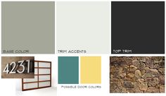 Mid-century home exterior mood board  #midcentury #paint #colorswatches