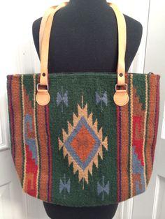 Vintage Aztec Navajo Rug Style Large Carpet Shoulder Travel Bag Purse by OldParisVintage on Etsy