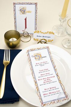 Having a medieval or renaissance themed event? You totally need these illuminated manuscript-inspired menus, table numbers, and place cards!   Wedding Invitations by CharmCat Stationery & Design