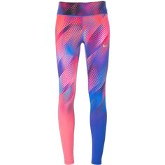 Nike printed leggings ($121) ❤ liked on Polyvore featuring pants, leggings, nike, nike trousers, legging pants, white trousers and white pants