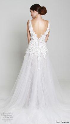 anna georgina 2015 bridal sleeveless floral embroidery bodice v neckline high slit a line wedding dress elena back