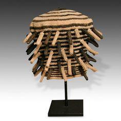 "Ashetu - ceremonial hat, Bamileke people, Cameroon, West Africa, 20th c. hemp. 12"" x 7"" x 7"" (18 x 18 x 30.5 cm) via Material Culture"