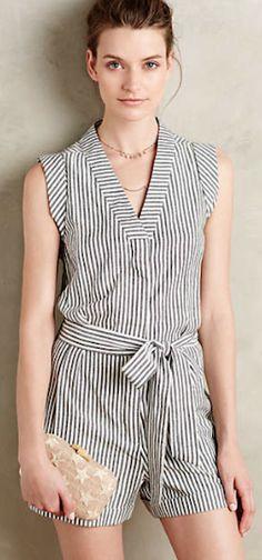 darling v-neck striped romper