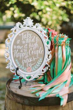 ribbon wands for a wedding exit! we ❤ this! moncheribridals.com #weddingexit #weddingribbonwands