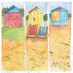 Emma Ball Coastal Scenes Greetings Card Beach Huts
