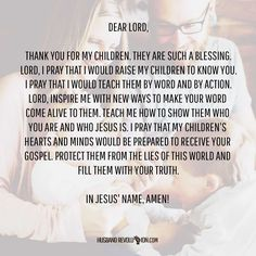 Prayer: Raising Our Children To Know You