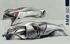 Futuristic BMW concept drawing.