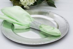 "Satin Napkin 20""x20"" - Mint Green ● As low as $0.49 ● Available from www.cvlinens.com"