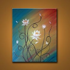 Sale Lotus Love Original Painting White flowers on by colorblast, $89.00