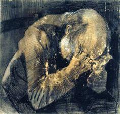 Vincent van Gogh, Vecchio che soffre (1882), matita, pastello nero e acquerello bianco opaco su carta acquerellata. Kröller Müller Museum, Otterlo