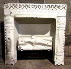 There is ornate trim around the gas logs. This is a beautiful antique cast iron fireplace insertthat was salvaged from a Victorian Brownstone in Brooklyn, NY. I salvage whatever I can think can be reused as long as there is room in my warehouse. Vintage Fireplace, Cast Iron Fireplace, Gas Logs, Fireplace Inserts, Architecture Details, Victorian, Antiques, Home Decor, Ebay