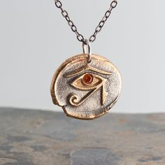 Carnelian Stone,Eye of Horus,Stamped Charm,Bronze Stamp,Silver Pendant,Handmade Necklace,Handmade Pendant,Statement Necklace,Gift for her by FutureArtJewelry on Etsy