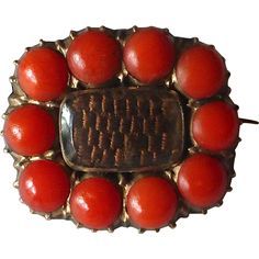 Antique Georgian Natural Coral Hair Mourning Lace Pin