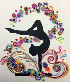 handmade quilled gymnastics in 8 x 10 white shadow box. Quilling Cake, Paper Quilling Flowers, Quilling Work, Paper Quilling Patterns, Origami And Quilling, Quilled Paper Art, Quilling Paper Craft, Paper Crafts Origami, Gymnastics Crafts
