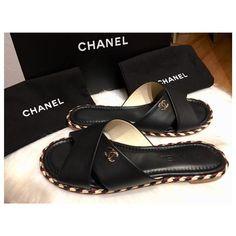 981e3bd4e52 Black Braided Lambskin Slip On Sandals Orig. Box -rev G32825x01000  Mules Slides