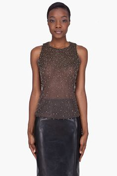 THEYSKENS' THEORY Taupe Metal Accent Broso Tank Top