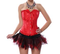 Grebrafan Sexy Lingerie Bridal Satin Corset Tutu Skirt (US(12-14) 2XL, Red). Corsets run smaller. Please choose the upper size if you are not quite sure. Excellent for waist training,Party/wedding/show/clubwear corset skirt. Fully adjustable ribbon lacing in the back, adjust to fit your waist. Embroidered Pattern Lace Trim Elegant Corset Strapless Wedding Dress Corset Bustiers. Our corsets are perfect for clubbing, intimate or naughty occasions. Jeans, skirt, or any other type of...