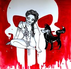 punishgirl pocahontas wolf red skull watercolour