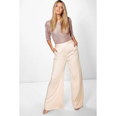Boohoo Boutique Boutique Adaline Satin Wide Leg Trouser ($30) ❤ liked on Polyvore featuring pants, blush, tailored pants, basic white t shirt, basic t shirt, elastic waist pants and white wide leg pants