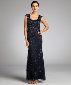Aidan Mattox twilight sheer mesh sequined and beaded cutout back cap sleeve gown | BLUEFLY up to 70% off designer brands