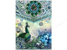 Punch Studio Paisley Peacock Mini Note Pad with Decorative Brooch 46501