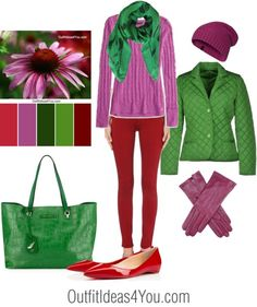 Here's a casual outfit idea using this color combination... Echinacea - Red, Green, Violet. For more outfit ideas visit http://outfitideas4you.com
