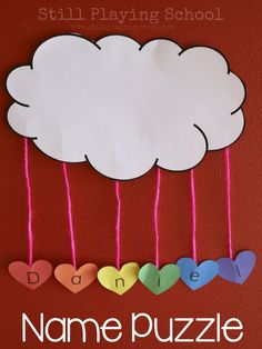 Create a name puzzle craft with kids inspired by The Day it Rained Hearts which is perfect for preschool on Valentine's Day! Preschool Weather, Preschool Crafts, Kids Crafts, Arts And Crafts, Spring Crafts For Preschoolers, Spring Craft Preschool, Preschool Memory Book, Name Activities Preschool, Rain Crafts