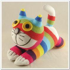 Handmade Sock Cat Kitty Stuffed Animal Doll Baby Toys. $10.99, via Etsy.