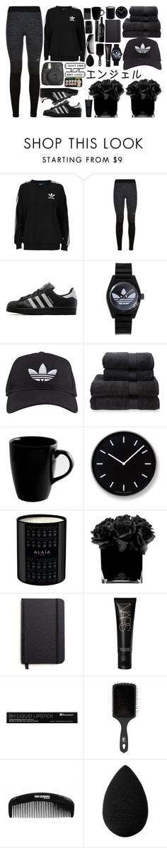 """Logomania!: Adidas"" by sillyyivyy ❤ liked on Polyvore featuring adidas Originals, adidas, Christy, 10 Strawberry Street, Lemnos, Hervé Gambs, Shinola, NARS Cosmetics, The Wet Brush and beautyblender"