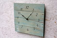 Modern yet Rustic Pallet Wood Clock...light blue by terrafirma79, $50.00